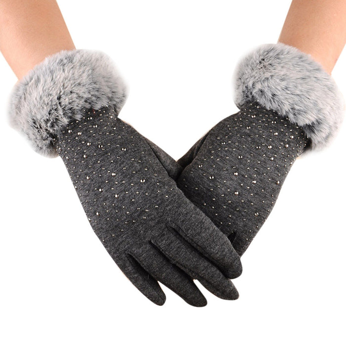 Free Size Elegant Warm Gloves With Fur