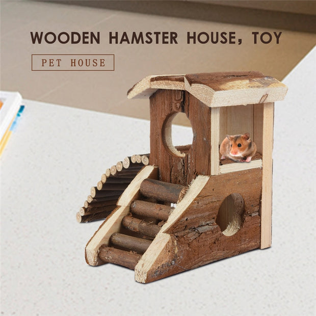 Wood Two-storey Villa With Stairs For Pet Hamster House