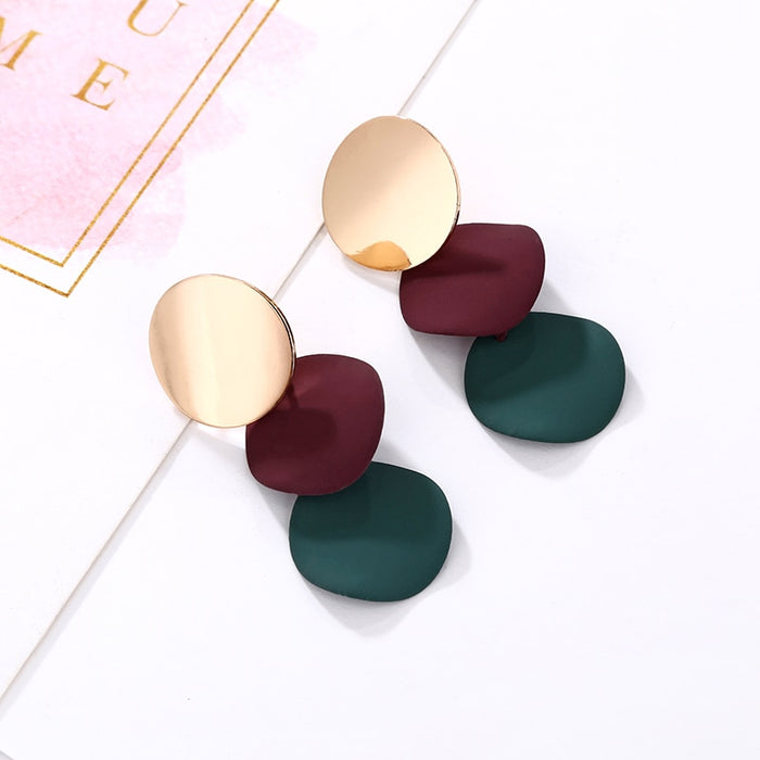 Geometric Round Metal Earrings