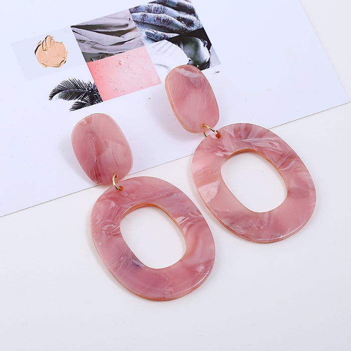 Vintage Colorful Oval Geometry Acrylic Statement Drop Earrings