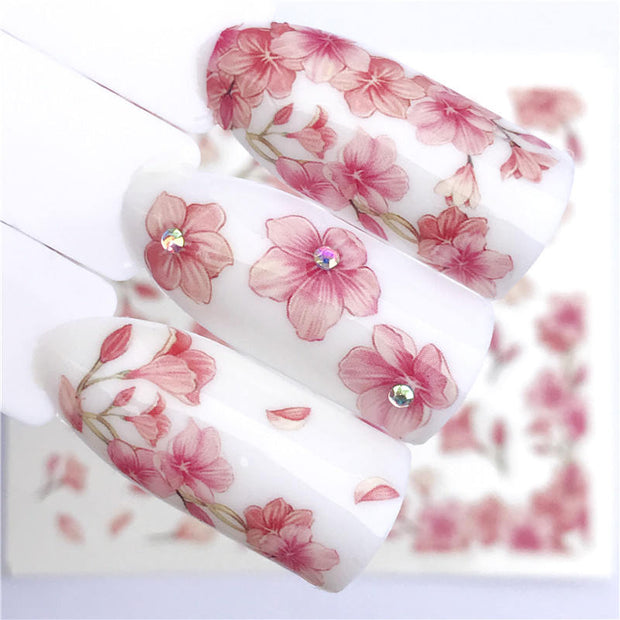 1 PC Pastel Flower Nail Art Sticker - Toyzor.com