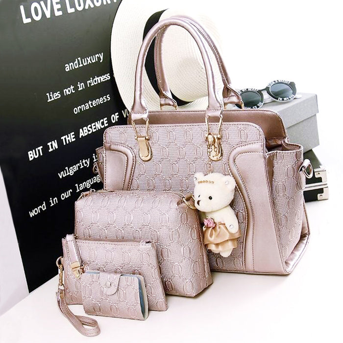 PU Leather 4 Set Ultra Modern Shoulder bag handbag - Multiple Colors - Toyzor.com