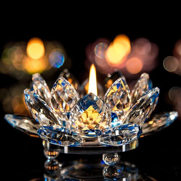 Candlestick 7 Colors Crystal Glass Lotus Flower Candle Tea Light Holder