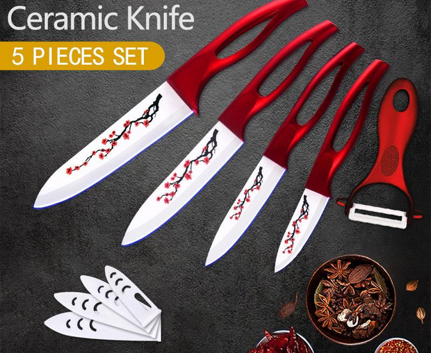 Ceramic Cooking Knife Tools Set+ Free Peeler Multi-Pattern Blade Hollow Handle Kitchen Accessories