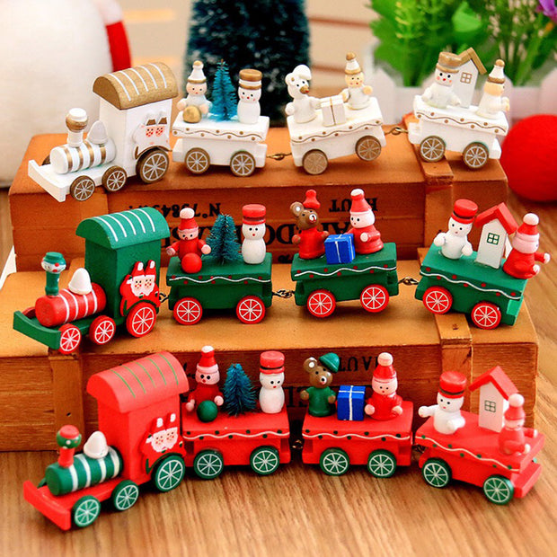 Train Painted Wood with Santa/Bear Christmas Kid Toys Ornament