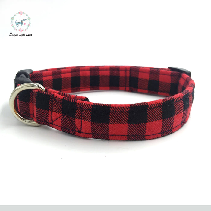 Plaid Dog Collar Set with Bow Tie