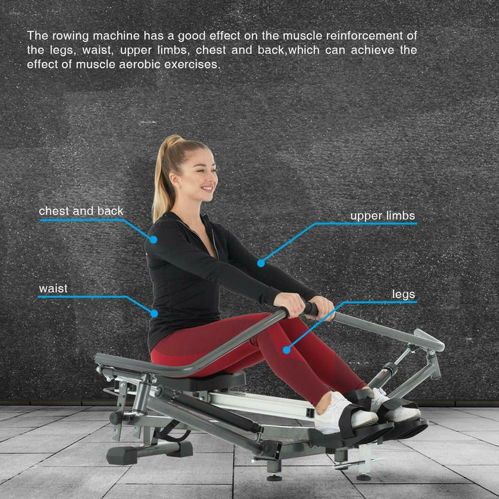 Folding Magnetic Rowing Machine Rower Adjustable Resistance LCD
