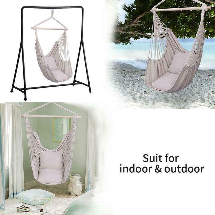 Wooden Hammock Hanging w/ 2 Pillows
