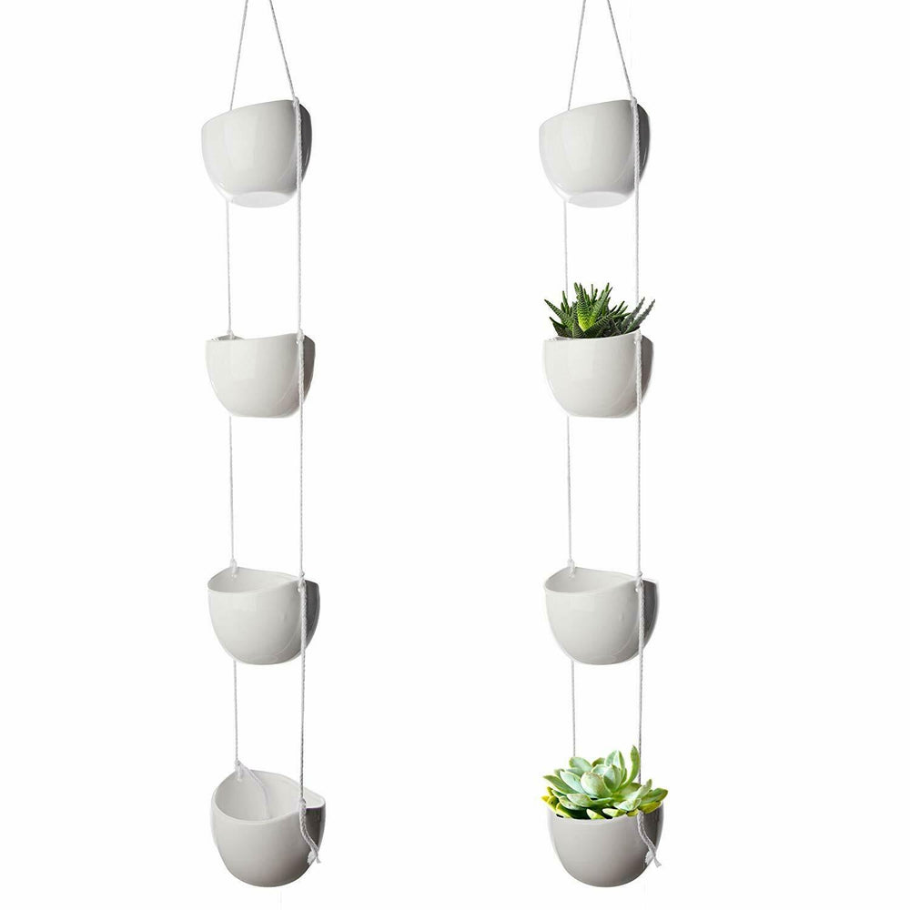 4 Tier Ceramic & Rope Hanging Planter Pot
