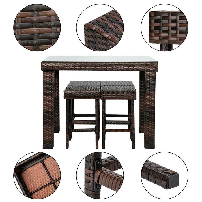 Wicker Table & Chair Sets PE Garden Yard Outdoor