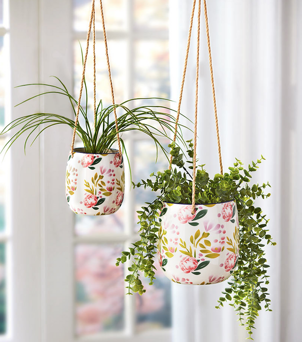 Set of 2 Hanging Indoor Outdoor Jute Hanger Pink Floral