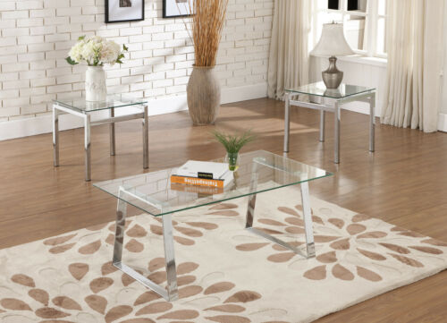 Modern Design Chrome Finish With Glass Top Coffee Table & 2 End Tables