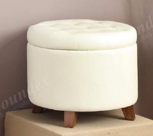Poundex Round Heavy Weight PU Ottoman with Storage