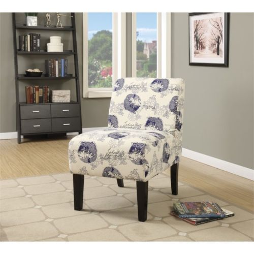 Armless Accent Chair in Dark Blue