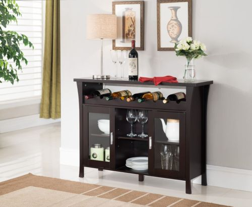 Wine Rack Buffet Server Console Table With Glass Doors