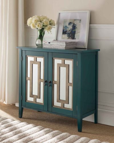 Antique Blue Buffet Server Cabinet/Console Table Mirrored Doors