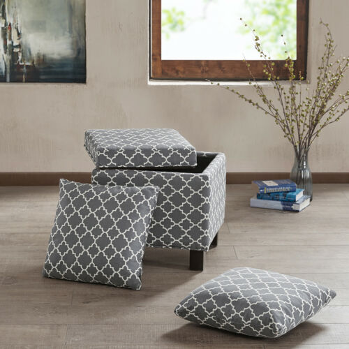Square Storage Ottoman with Pillows