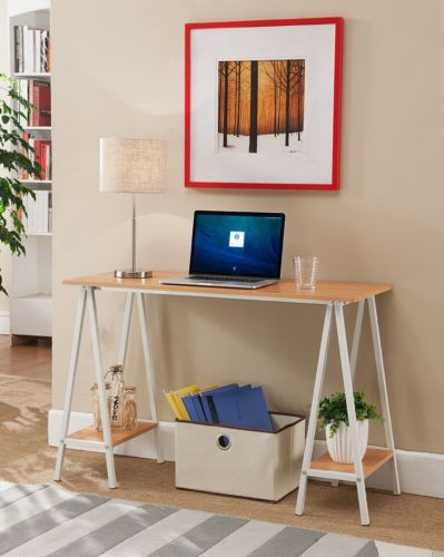 White with Natural Home & Office Desk / Table with Side Shelves