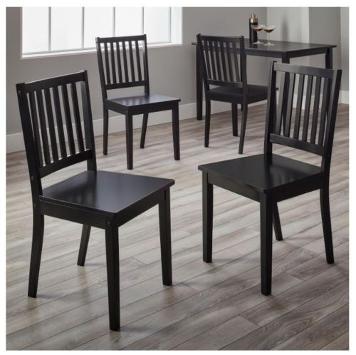 Slat Black Rubber wood Dining Chairs - Set of 4