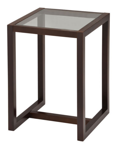 Kings Brand Furniture Dakota Walnut Finish Wood End Table with Glass Top