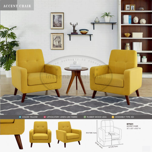 Yellow Modern Accent Arm Chair Set of 2