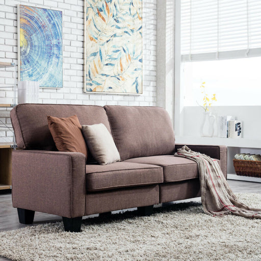Brown Upholstered Loveseat Linen Fabric 3 Seater Sofa Modern Couch Futon