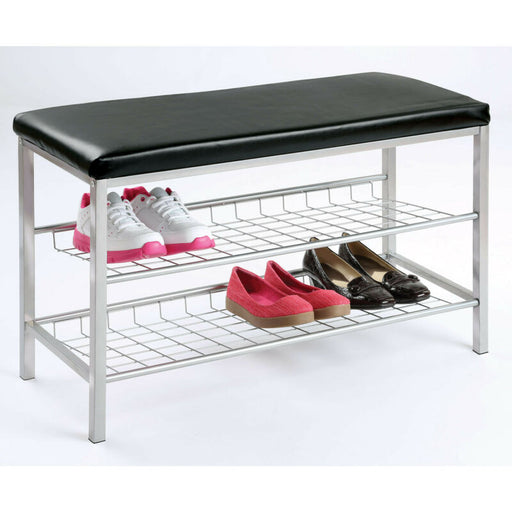 2-Tier Metal Shoe Bench - Vinyl Cushion Top Footwear Storage Rack