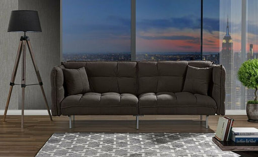 Tufted Futon Sofa Loveseat Sleeper Couch with 2 Pillows