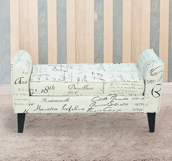 Contemporary Linen Armed Storage Ottoman Bench