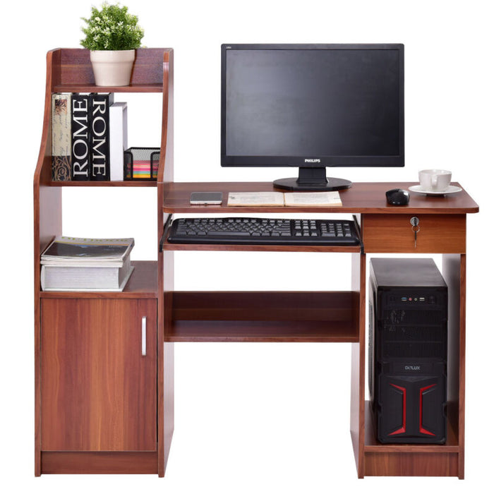 Computer Study Desk W/ Bookshelf Home Office