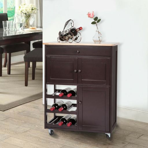 Wood Shelf Rolling Kitchen Island Trolley Cart Storage Cabinet Utility Wine Rack