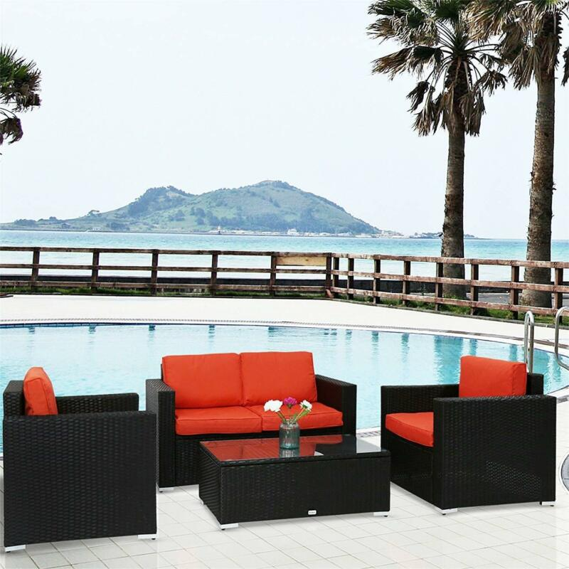 Set of 4 Orange Rattan Wicker Lounge Sectional Sofa Patio Garden Furniture