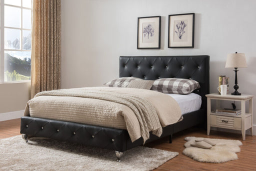 Black Faux Leather Queen Size Upholstered Platform Bed