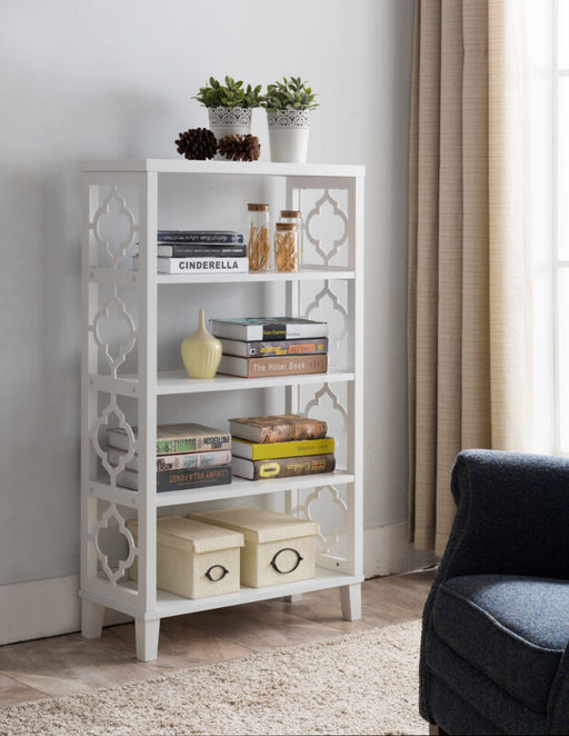 White Finish Wood Etagere 5 Tier Bookcase