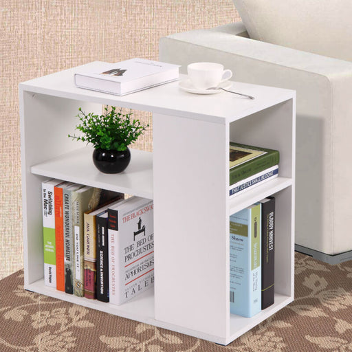 White Coffee Tray Side Sofa Table Console w/ Bookcase