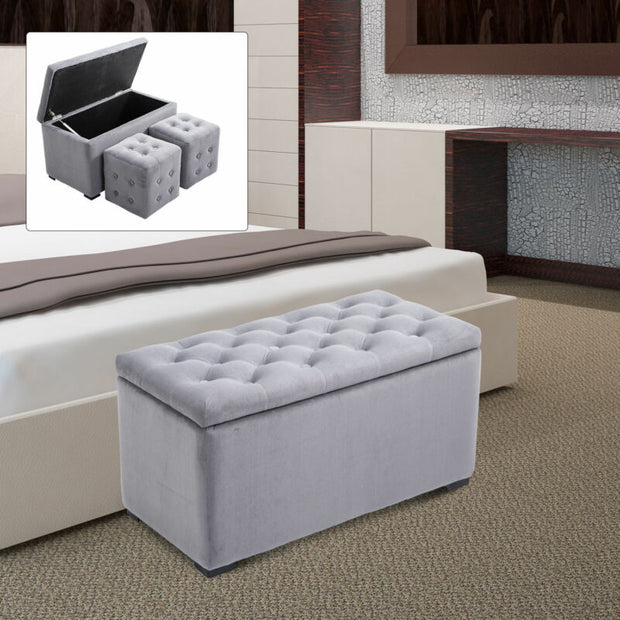 3 Piece Tufted Microfiber Storage Bench with 2 Cube Ottoman