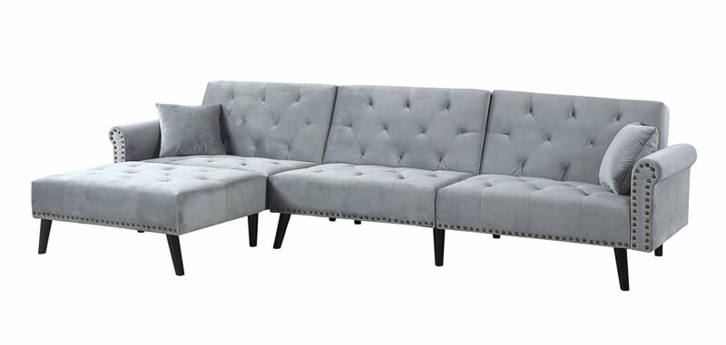 Velvet Sleeper Futon L Shape Sofa