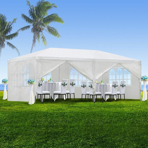 White Canopy Wedding Party Tent w/ 6 Removable Window Walls