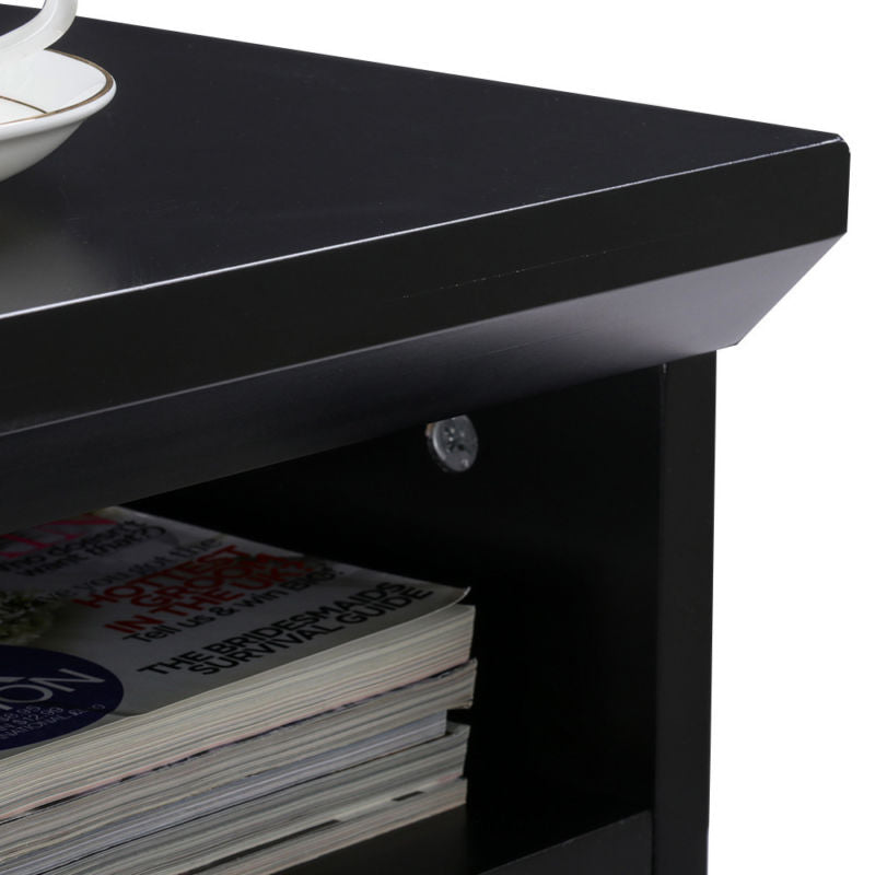Modern Book Rack and Nightstand - Black - Toyzor.com