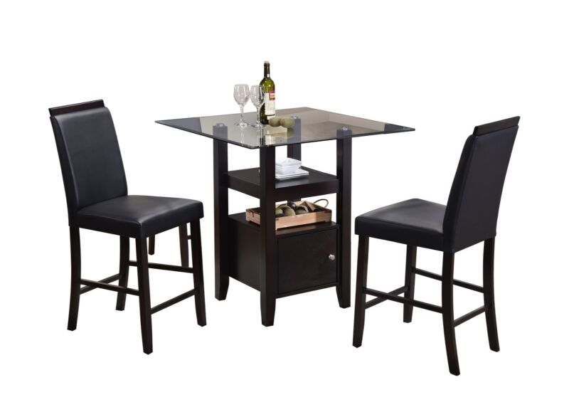 3 Piece Cappuccino & Glass Counter Height Dinette Set, Table & 2 Chairs (Black)