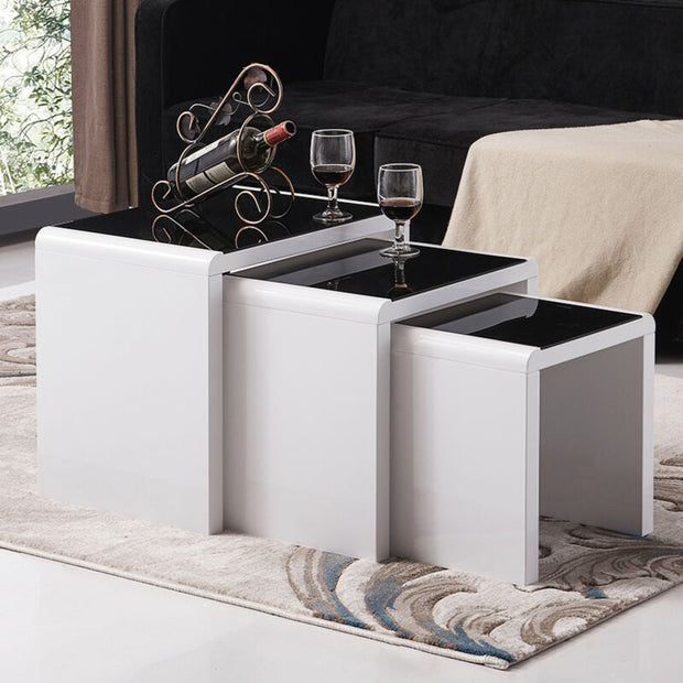 High Gloss White Nest of 3 Set Coffee Table