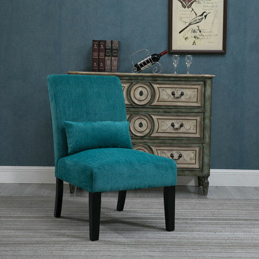 Retro Accent Chair w/ Kidney Pillow Contemporary Fabric Armless