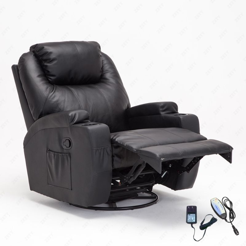 Massage Recliner Sofa Leather Vibrating Heated Chair Lounge with RC Black