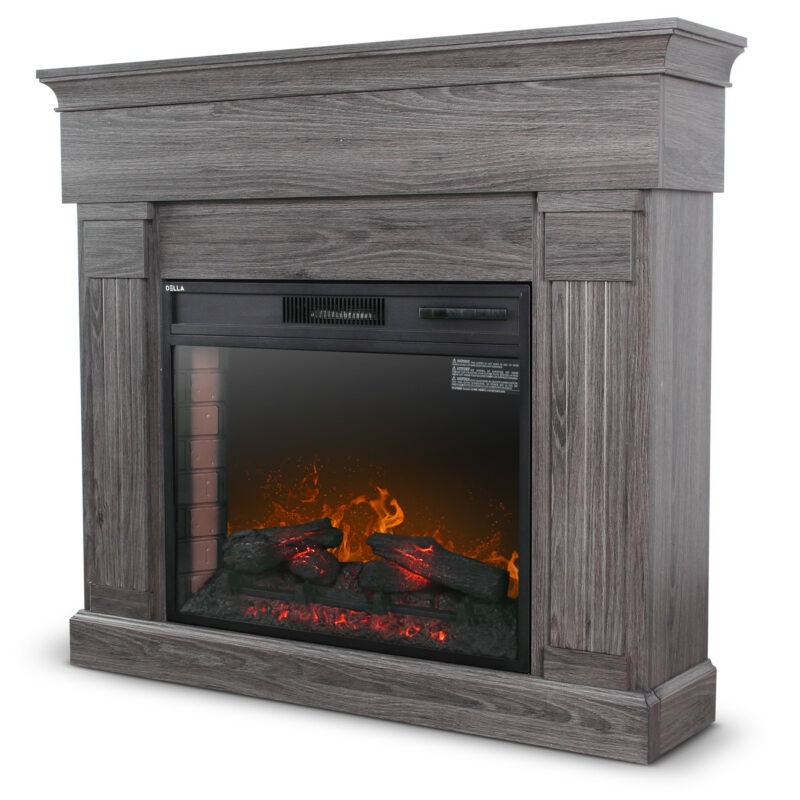 "28"" Freestanding White Wood Finish Electric Fireplace Stove Heater with Remote"