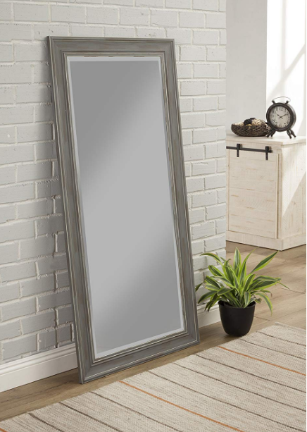 Grey Large Full Length Mirror Floor Leaner Living Bedroom Antique Distressed