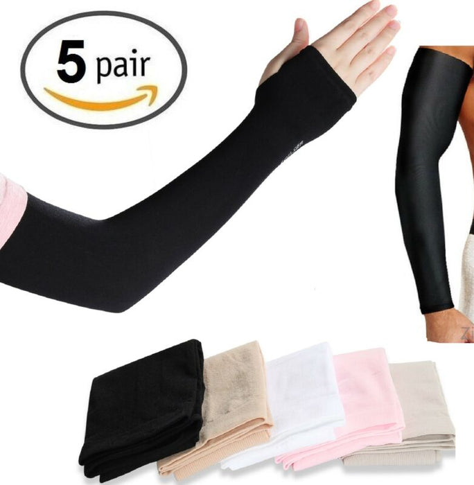 5 Pairs Cooling Arm Sleeves Cover UV Sun Protection
