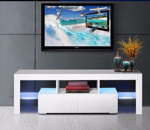 High Gloss White TV Stand Unit Cabinet Console Furniture With LED Shelves