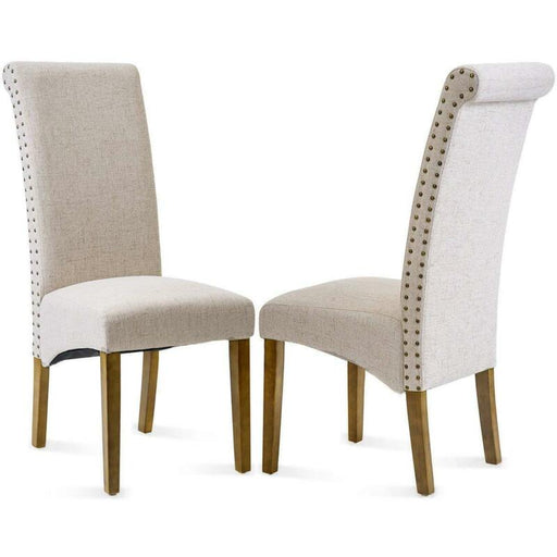 Set of 2 Fabric Armless Dining/Room Chair Accent Solid Wood