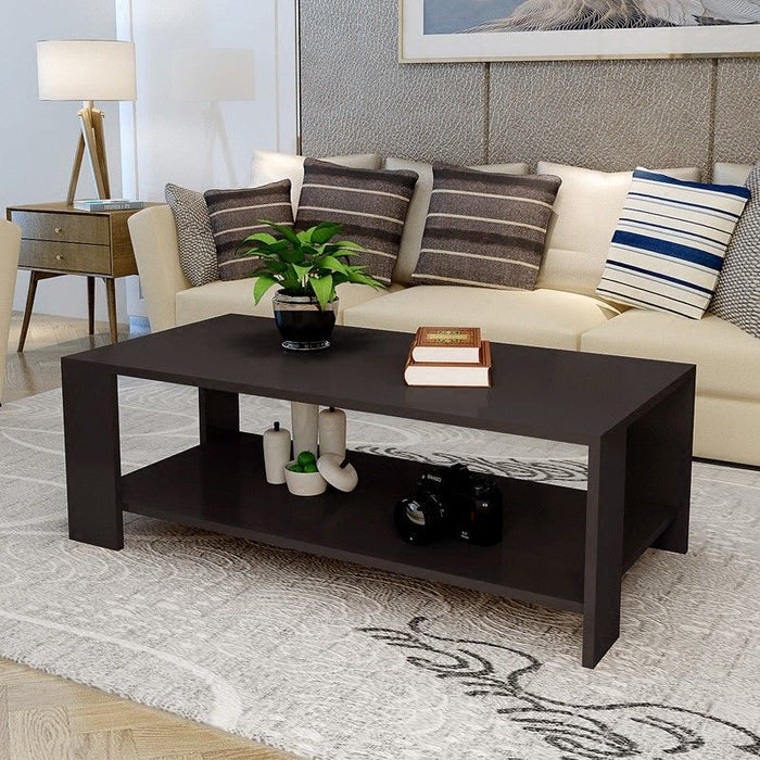 Modern Rectangular Coffee Table with Shelf Dark Coffee Leg