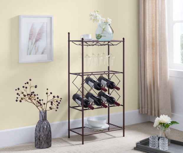 Metal Wine Rack Stand with Glass Holder & Shelves